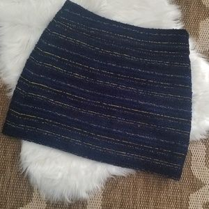 LOFT Navy Blue and Gold Wool Tweed Shift Skirt